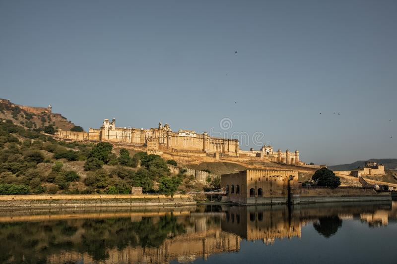 India Jaipur Amber fort in Rajasthan. Ancient indian palace arch. Itecture, panoramic view royalty free stock photos