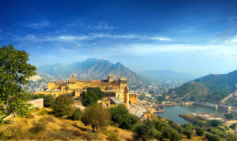 India Jaipur Amber fort in Rajasthan. Ancient indian palace architecture vertical panoramic view stock photography