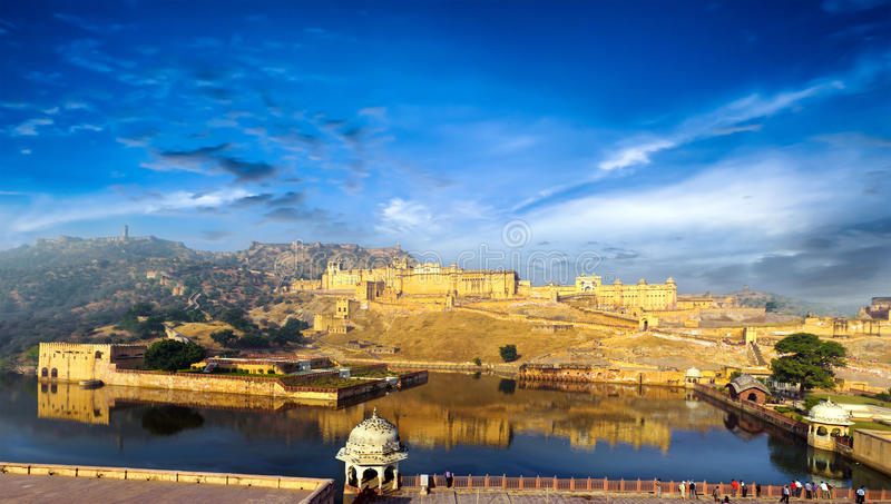 India Jaipur Amber fort in Rajasthan. Ancient indian palace architecture vertical panoramic view stock images