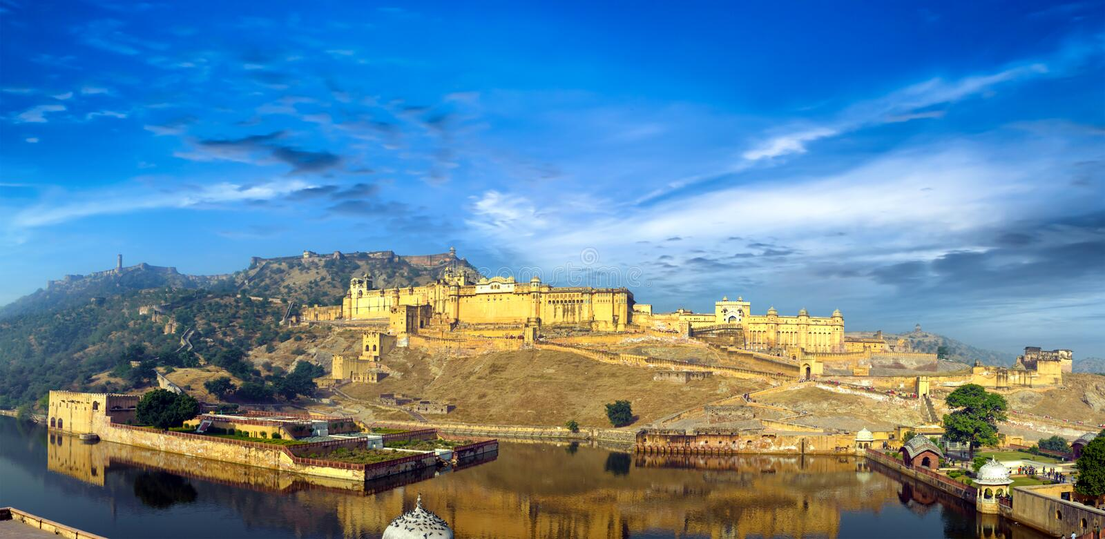 India Jaipur Amber fort in Rajasthan. Ancient indian palace architecture vertical panoramic view royalty free stock photo