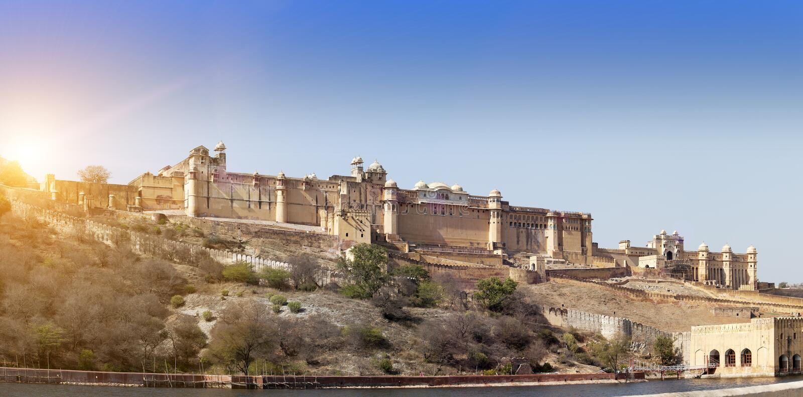India. Jaipur. Amber fort. In a sunny day stock photos
