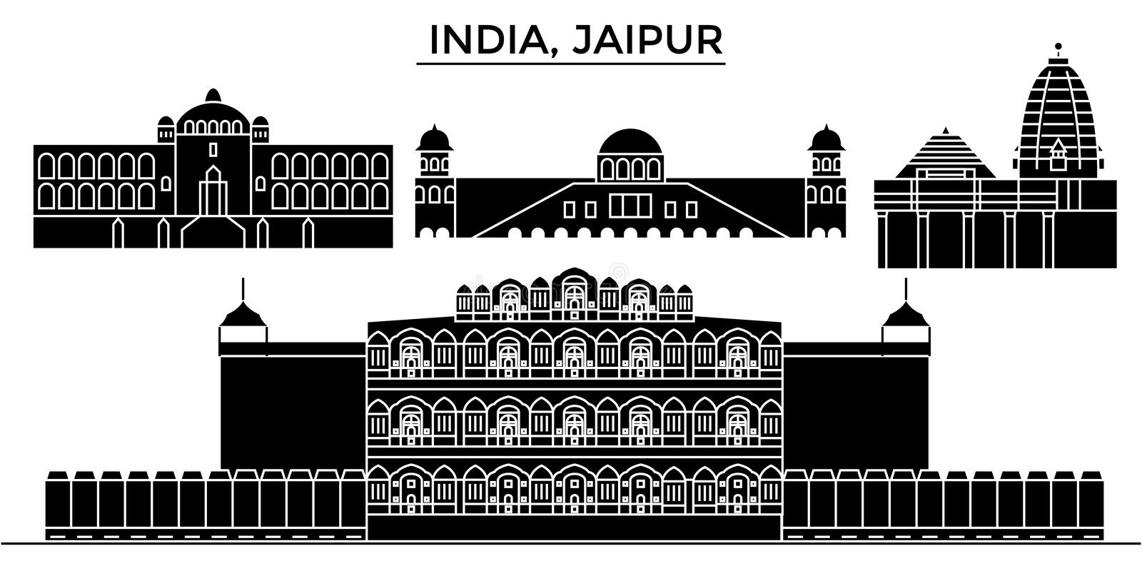 India, Jaipur architecture urban skyline with landmarks. India, Jaipur architecture skyline with landmarks, urban cityscape, buildings, houses, ,vector city stock illustration