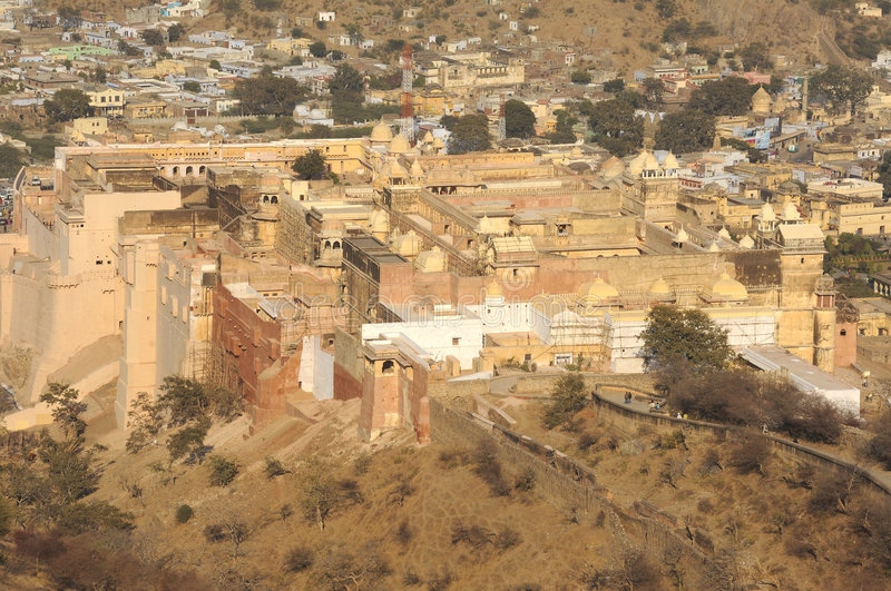 India, Jaipur: The city and the palace. In the middle of the desert a yellow stone city royalty free stock photography