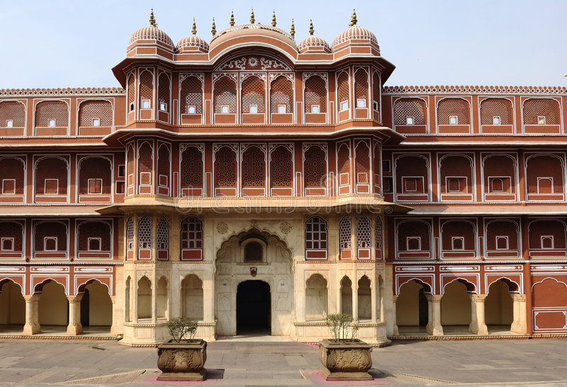 India Jaipur city palace. This is the main palace of the famous pink city founded in 1727 by the king maharaja jai sing; the palace have a serie of courtyards stock images