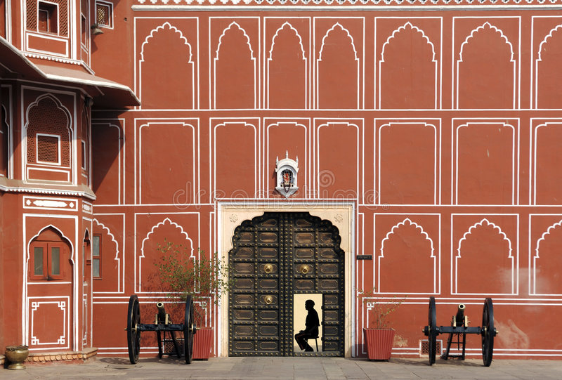 India Jaipur city palace. This is the main palace of the famous pink city founded in 1727 by the king maharaja jai sing; the palace have a serie of courtyards royalty free stock image