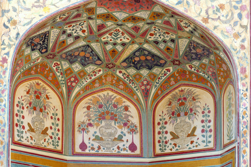 India jaipur fresco on a wall. Representing an architecture decorated with geometrical and floral motifs stock images