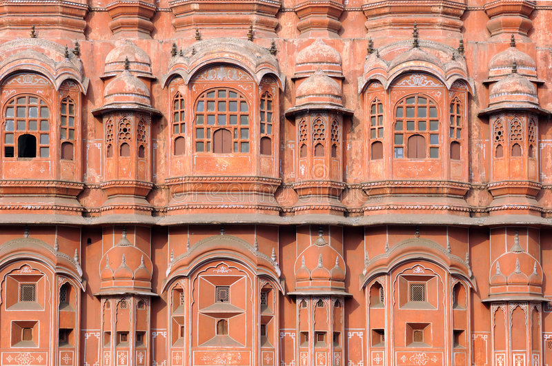 India Jaipur; Hawa Mahal the palace of winds. Situated in the heart of the city this palace is the major attraction for tourist in rajasthan; architecture in royalty free stock images