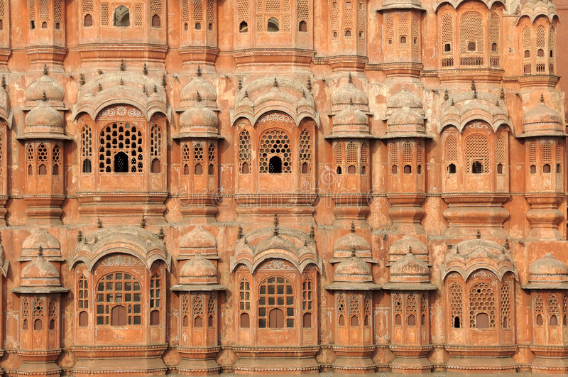 India Jaipur Hawa Mahal the palace of winds. India Jaipur; hawa mahal the palace of winds; situated in the heart of the city this palace is the major attraction royalty free stock images