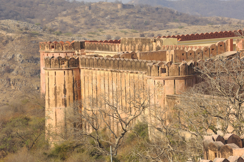 India, Jaipur: Jaigarh Fort. On the top of the hill we can see the most spectacular forts in india;place of artillery production it was there that the world's stock photography