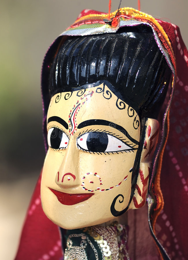 India Jaipur marionette. Traditional indian handcraft; representation of a woman with a traditional dress royalty free stock photo