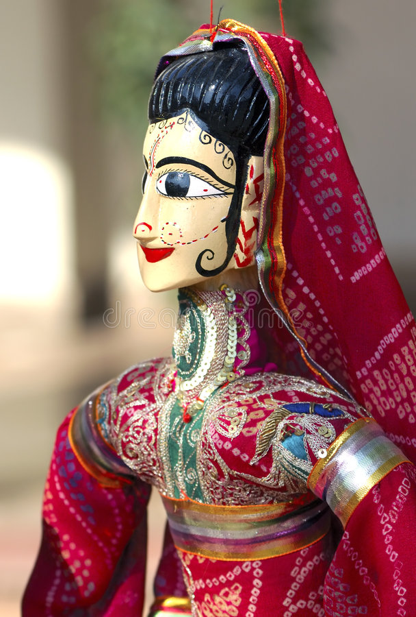 India Jaipur Marionette. Traditional indian handcraft; representation of a woman with a traditional dress stock images