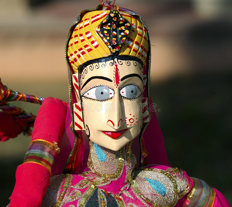 India Jaipur Marionette. Traditional indian handcraft; representation of a woman with a traditional dress stock photos