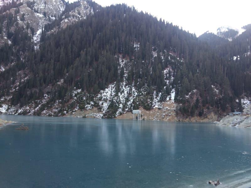 India jammu Kashmir Deep blue frozen water river. India Jammu & Kashmir Kishanganga Hydroelectric Project dam site at kishanganga river Deep Blue Frozen water at royalty free stock photos