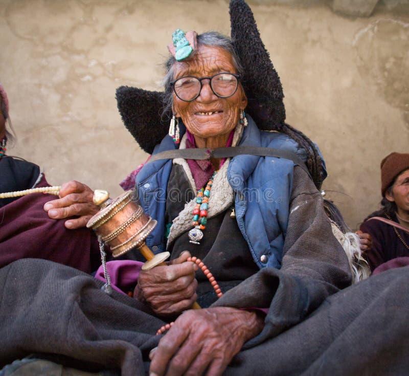 27.06.2011, India, Jammu and Kashmir state, ladakh, Lamayuru monastery, Grandma at a festival in the monastery of Lamayuru, Ladakh royalty free stock photos