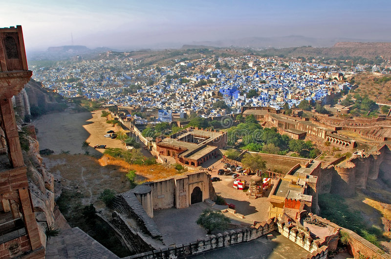 India, Jodhpur: De blauwe stad stock foto