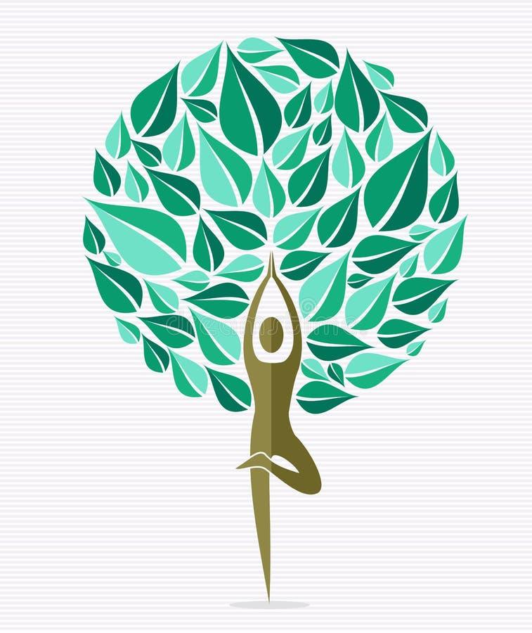 India joga liścia drzewo royalty ilustracja