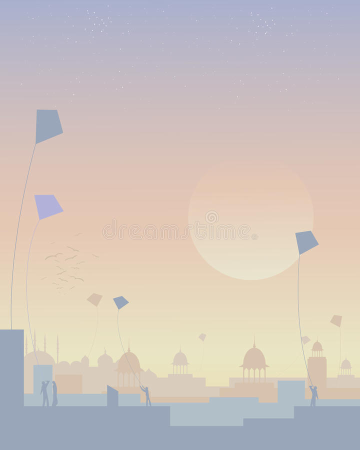 India kite festival vector illustration