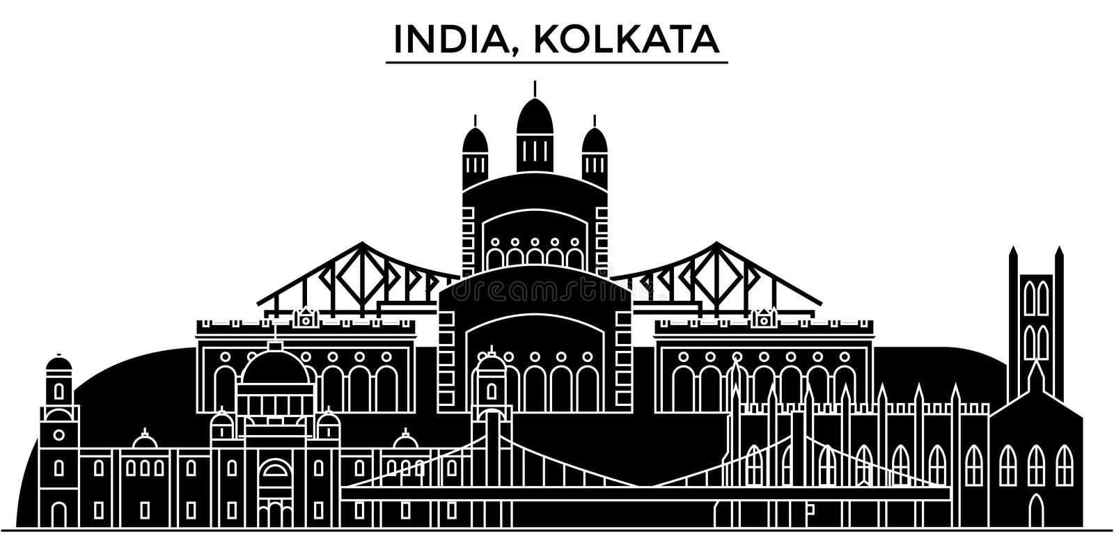 India, Kolkata architecture urban skyline. India, Kolkata architecture skyline with landmarks, urban cityscape, buildings, houses, ,vector city landscape stock illustration