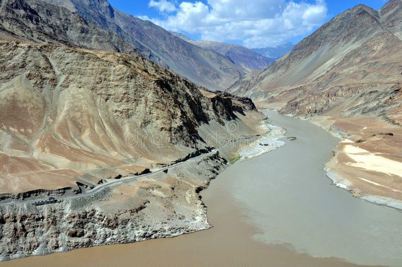 India - Ladakh landscape with Indus river royalty free stock image