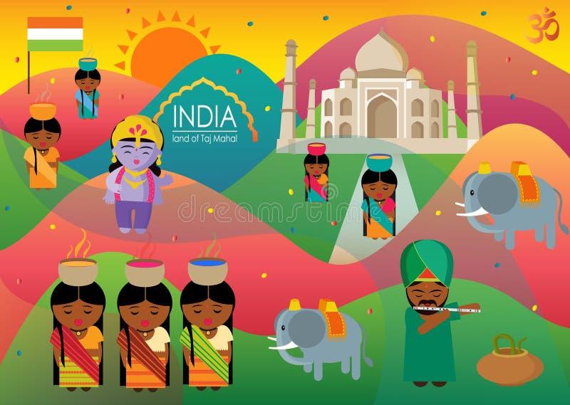India land of taj mahal and beautiful culture stock illustration