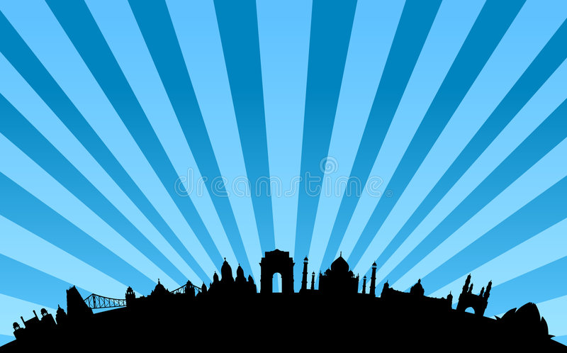 India landmarks skyline vector. Vectored illustrations as silhouettes of most famous landmarks and buildings in india, as india gate, calcutta iron bridge, and