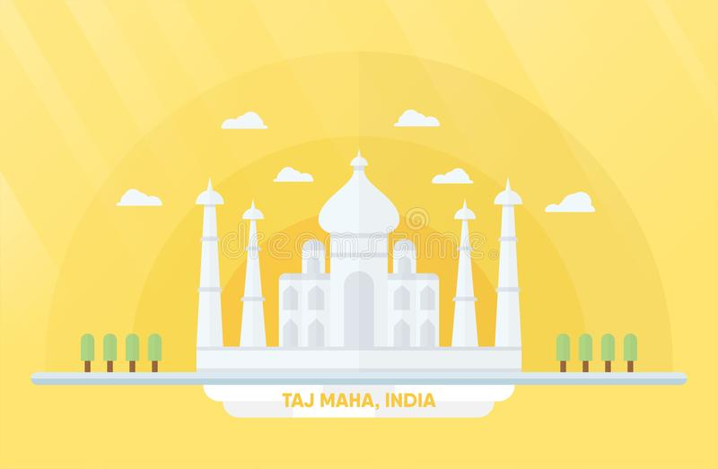 India landmarks for travelling with Taj mahal and trees. Vector stock illustration