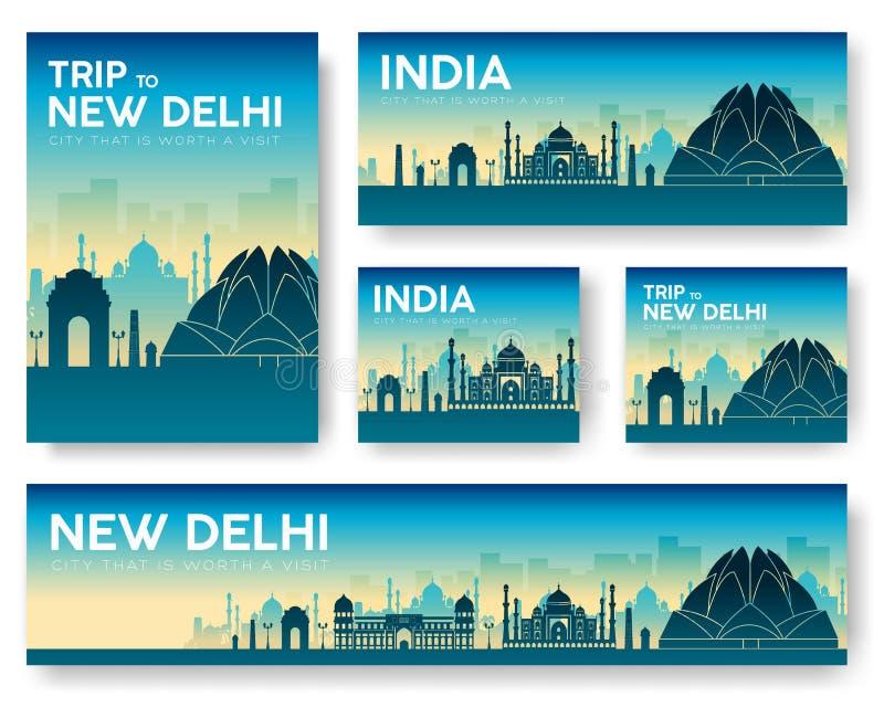 India landscape vector banners set. Vector design illustration stock illustration