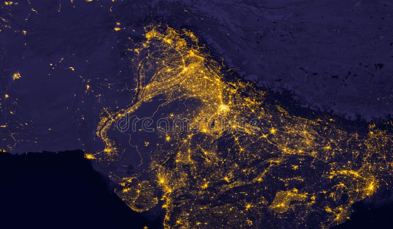 India lights during night as it looks like from space. Elements of this image are furnished by NASA royalty free stock photos
