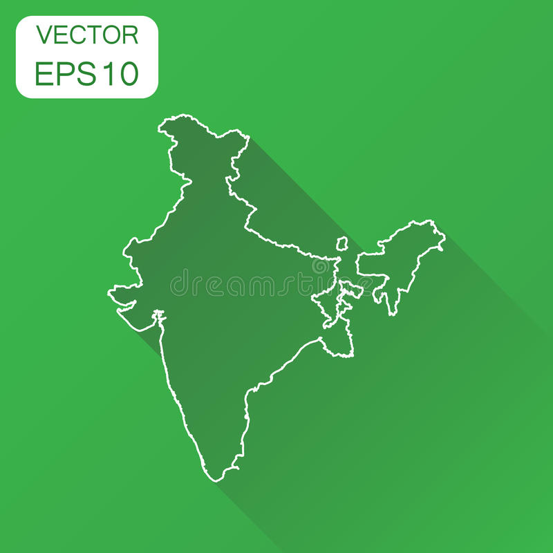 India linear map icon. Business cartography concept outline India pictogram. Vector illustration on green background with long sh. Adow vector illustration
