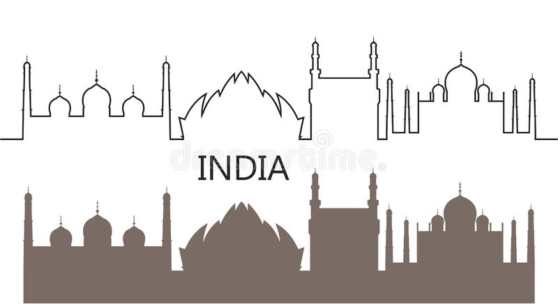 India logo Odosobniona India?ska architektury architektura na bia?ym tle ilustracja wektor