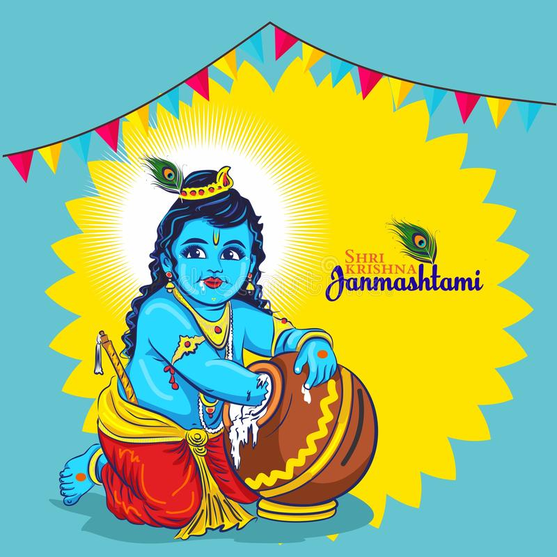 India Lord weinig krishna Gelukkige Janmashtami royalty-vrije illustratie