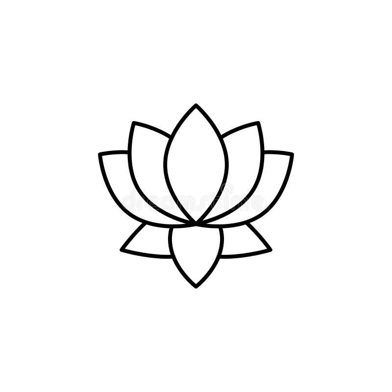 India, lotosowego kwiatu ikona Element India kultury ikona Cienka kreskowa ikona dla strona internetowa projekta i rozwoju, app r royalty ilustracja