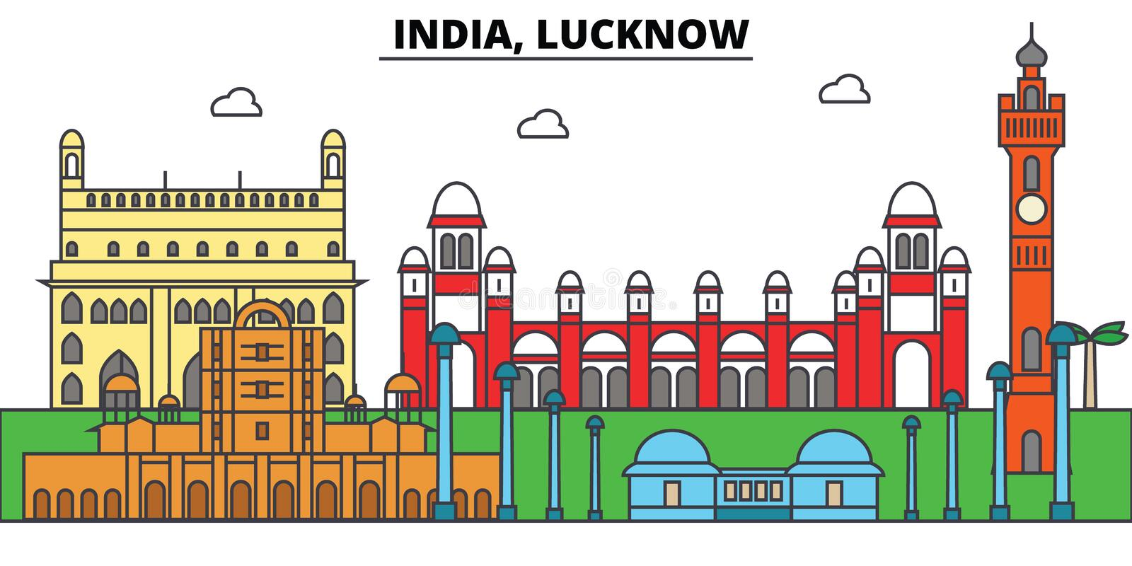 India, Lucknow, Hinduism. City skyline, architecture, buildings, streets, silhouette, landscape, panorama, landmarks. India, Lucknow, Hinduism. City skyline stock illustration