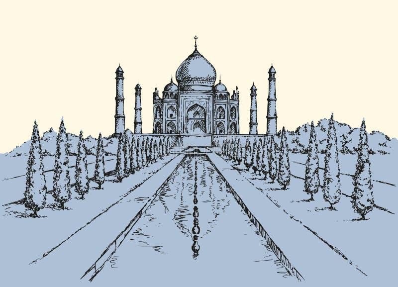 india mahal taj Vektorn skissar stock illustrationer