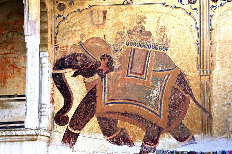 India, Mandawa: colourful frescoes vector illustration