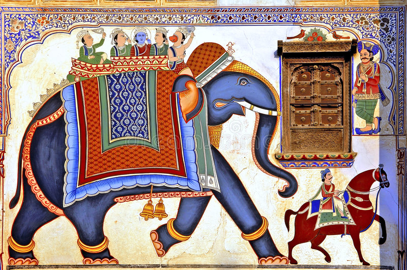 India, Mandawa: colourful frescoes. On the walls of the ancient houses, the famous indian havelis; haveli designate an individual mansion with decorated walls royalty free stock photography