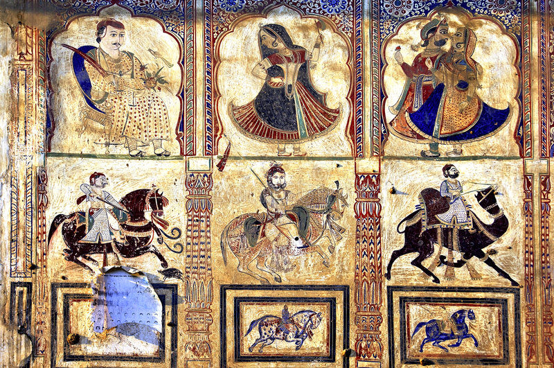 Download India, Mandawa: Colourful Frescoes  On The Walls Stock Photo - Image: 4926994