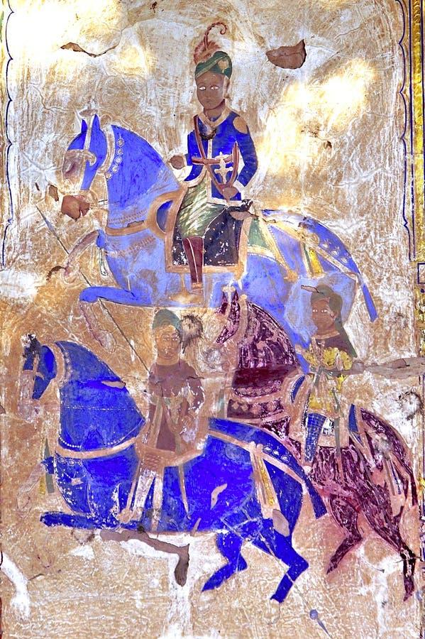 India, Mandawa: fresco coloridos nas paredes ilustração do vetor