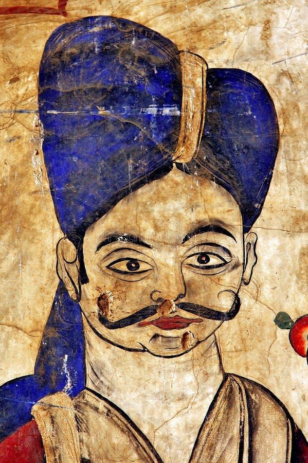 India, Mandawa: kleurrijke fresko's op de muren vector illustratie
