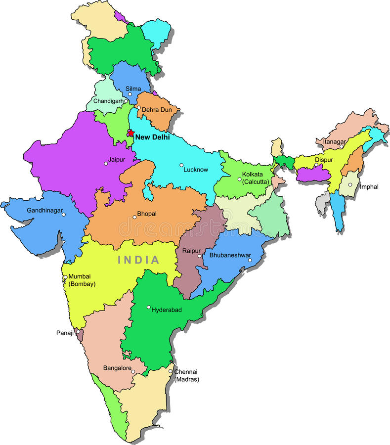 India map. Color India map with regions over white