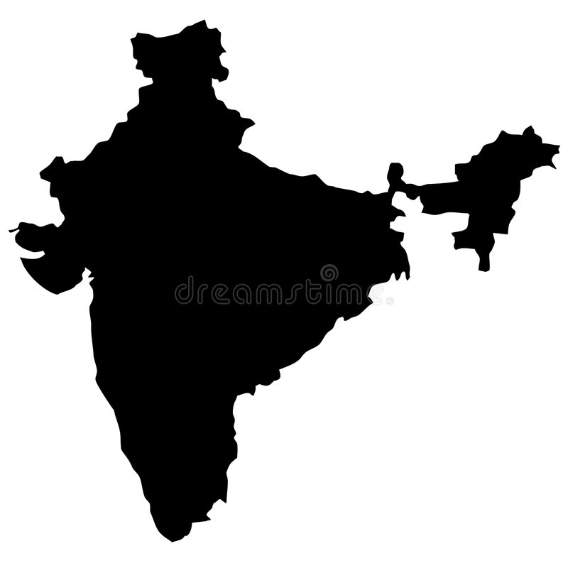 Download India map stock vector. Image of orient, position, black - 5962361