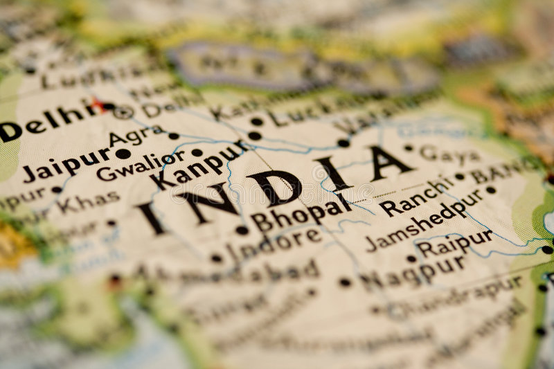 India Map. Shot of India on map with blur stock photo