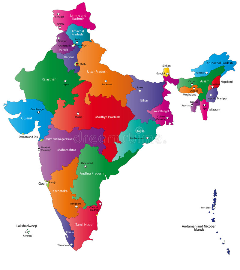 India map. Designed in illustration with regions colored in bright colors and with the main cities. Neighbouring countries are in an additional format (.AI) in