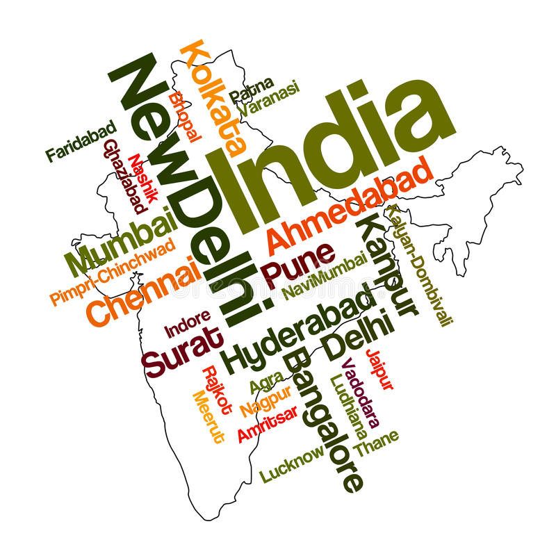 India map and cities. India map and words cloud with larger cities