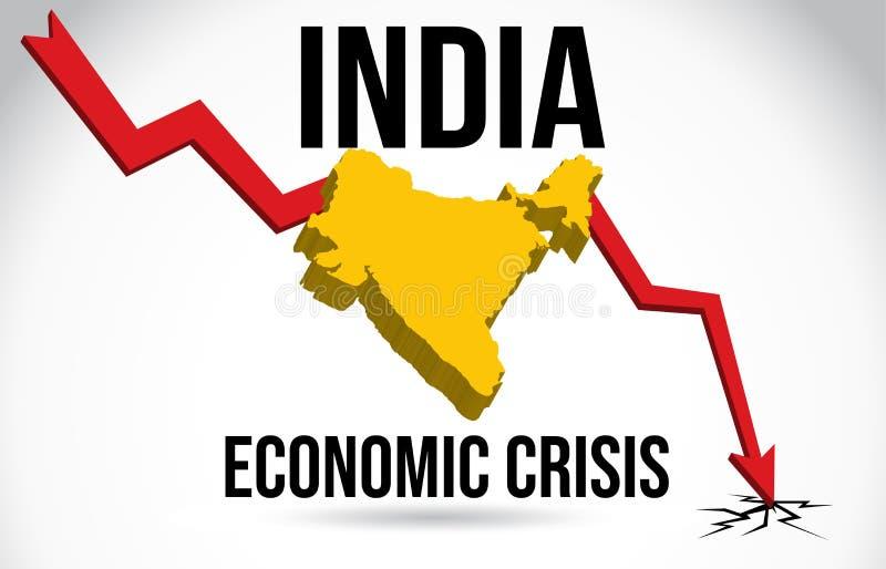 India Map Financial Crisis Economic Collapse Market Crash Global Meltdown Vector. Illustration vector illustration