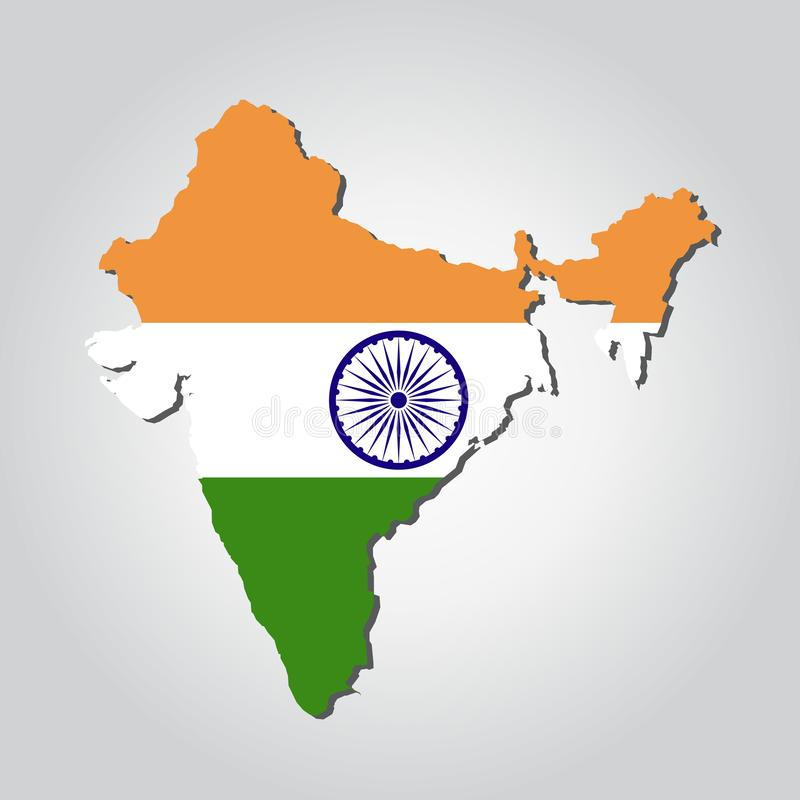 India Map Flag vector illustration