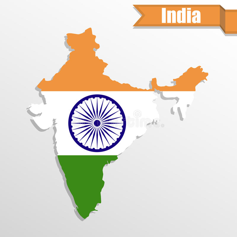 India map with flag inside and ribbon stock illustration