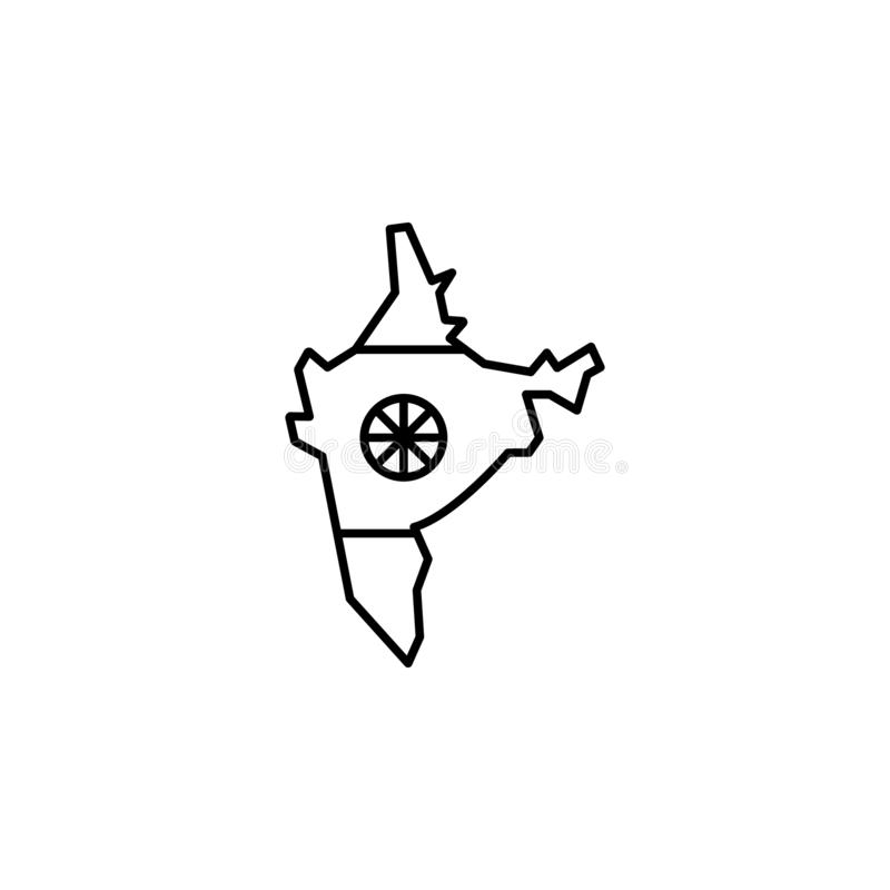 India, map icon. Element of India culture icon. Thin line icon for website design and development, app development. Premium icon. On white background stock illustration