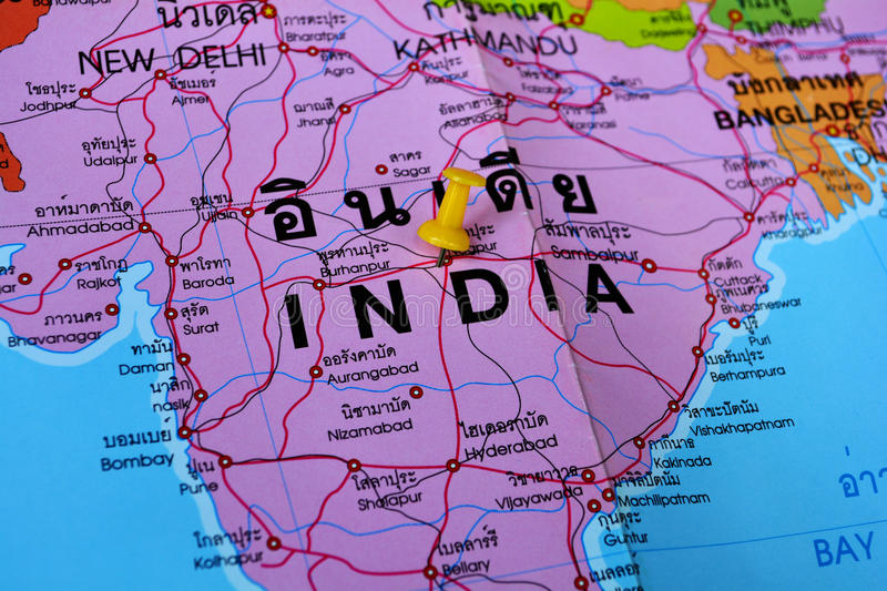 India map. Macro shot of india map with push pin royalty free stock photo