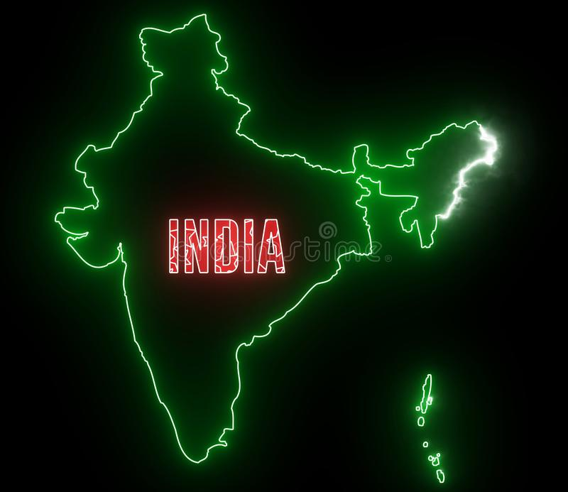 India map with neon lights. Abstract creative animation for led, neon outline of Indian country with flag.  stock illustration